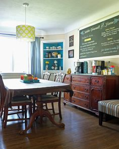 Love this super inviting self-serve coffee bar on the dining room buffet!