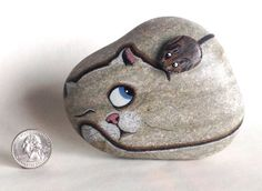 Hand Painted Natural Rock Cat with Mouse by qvistdesign on Etsy, $28.00