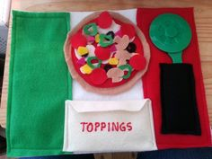 Pizza with toppings, with a pizza cutter and pocket for the toppings