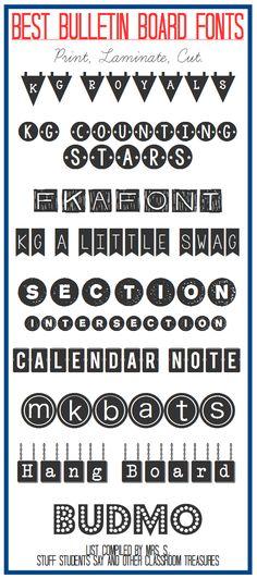 classroom treasur, stuff student, bulletin board fonts, fun font