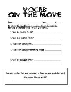 classroom idea, movepdf, teacher stuff, vocab on the move, languag art, read, educ, school idea, teach idea
