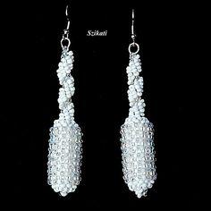 Beadwoven white seed bead earrings $35.00