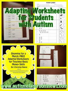 Autism Classroom News: www.autismclassro...    FREEBIE!! Adapting Worksheets for Students with Autism: Setting Up Classrooms Series-Materials by Autism Classroom News: www.autismclassro...