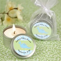 Baby Boy Dinosaur - Personalized Candle Tin Baby Shower Favors