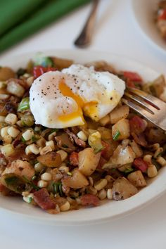 Bacon Veggie Hash with Poached Egg