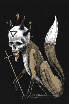 """Kitsune Demon Fox"" Art Print by Pakowacz on Society6."