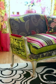 Love this upholstery job...the different fabrics are so fun, whimsical, and colorful!