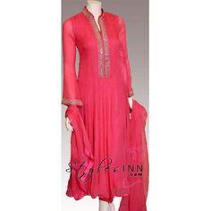 Pink Anarkali Outfit With Fabulous Embroidery - StylesInn (Pakistani Designers Wear)