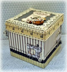 Great idea for pin cushion and thread or bobbin holder box! Love it! So cute!