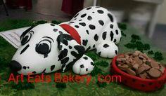 3D custom unique dalmatian groom's cake design.  She has an edible collar and fondant dog food and bowl.