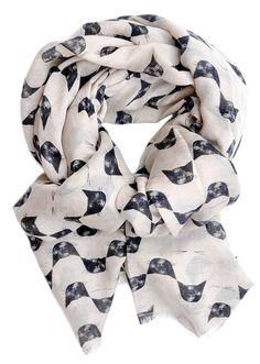 Cat Print Wool-Silk Scarf