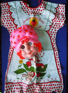 Vintage 1980 STRAWBERRY SHORTCAKE COSTUME by BEN COOPER (100% Vinyl) - I wore this. The wrinkles never came out of the vinyl, you were soaked in sweat by the end of the night, the bottom half of the mask was full of water from the steam of your breathing, and the crotch would be torn by the end of the night from walking miles and miles while trick-or-treating. I LOVED IT!