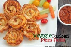 Veggie Packed Pizza Rolls.  Packed with 9 different veggies.  These are so good your kids will eat these like they are going out of style!