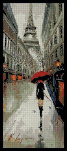 Rainy Day In Paris - Counted Cross Stitch Chart Patterns. $18.00, via Etsy.