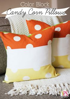 Color Block Candy Corn Pillow (PDF Tutorial) #fall #Halloween #sewing