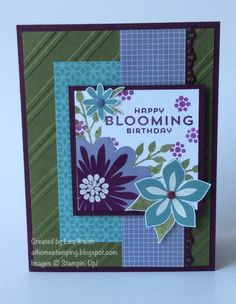 Flower Patch by Lisa Walsh, STAMPS: Flower Patch INK: Mossy Meadow, Lost Lagoon, Blackberry Bliss, Wisteria Wonder, Versamark PAPER: Blackberry Bliss, Mossy Meadow, Whisper White, Flowerpot DSP, Afternoon Picnic DSP OTHER: White embossing powder, Subtle and Brights Candy Dots, Stylish Stripes EF, Finishing Touches Edgelits