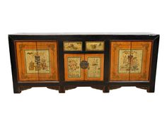 Antique Mongolian Hand Painted Floral Painting Large Wooden Sideboard Buffet Cabinet