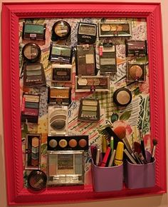 DIY magnetic makeup organizer. Saving this for the basic idea, but I'd make some variations. Mason jar brush holder with pebbles maybe? And a smaller frame because I don't have that makeup haha
