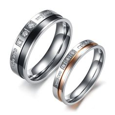 Matching Commitment Rings for Him and Her Set of Two