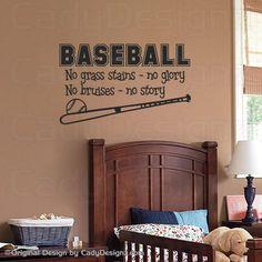 Baseball Wall Decals | Baseball Wall Decal - Boys Room Decor - Children Decor - Vinyl Wall ...