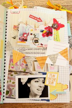 Cool Smash book page idea art journal, scrapbook layouts, smashbook, smash book, paper, smash stuff, scrapbook pages, book page crafts, banner