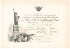 October 28, 1886: Invitation to the Inauguration of the Statue of Liberty by President Grover Cleveland. Original invitations were engraved with a gold seal and lithograph of Liberty. #americanhistory #history #StatueofLiberty