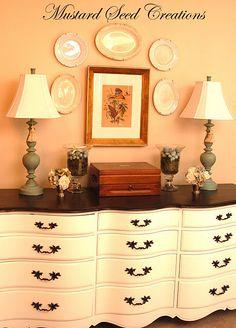 refinished dresser. Love (w/o black handles). French Provincial, Antique Furniture, Painting Furniture, Color, Dresser Redo, Dressers, Mustard Seeds, Paintings, Furniture Painting Tips