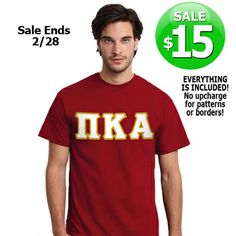 Fraternity $15 Sewn-On Letter T-Shirt Sale  HURRY AND GET IT WHILE IT LASTS!! SALE ENDS TOMORROW - FEB, 28, 2014!! #FRATERNITY #CLOTHING #GOGREEK #SOMETHINGGREEK