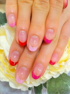 Pink French tip New nail art
