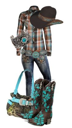 Country Girl <3 Don't really care for the purse or boots. Wish the boots had less of the color.