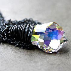 AB Crystal Necklace Swarovski Aurora Borealis by GlitzGlitter, $47.00