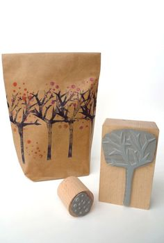 Rubber Stamps #packaging #bag #stamps #kraft #paper #tree #berries #red #gift #wrapping #presents