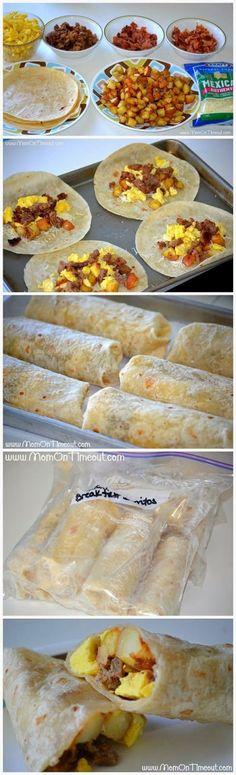 Breakfast Burrito Bonanza – A Freezer Meal Idea To make for Allen to take to work!