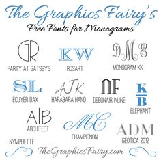 Favorite free fonts for creating monograms - The Graphics Fairy