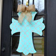Door Hanger: Cross, Decorative Cross, Wall Cross, Hand painted wooden cross, Summer Door Hanger