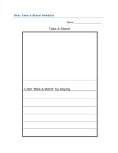 """Take A Stand activity for One by Kathryn Otoshi. Students describe in words and pictures how they """"stand up"""" for themselves and others when necessary. Full lesson plan at http://www.witsprogram.ca/schools/books/one.php?source=lesson-plans"""