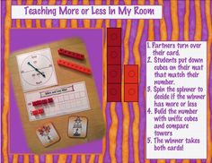 """""""More or Less"""" Taught the Kindergarten Crayon Way... Partners each draw a number card, build a cube tower to match their number, & compare to find which is more & less. THEN, they spin the More/Less spinner to see which wins (More or Less) the round, and that student gets to keep both cards. This set is Thanksgiving-themed, but YOU can adapt it!"""