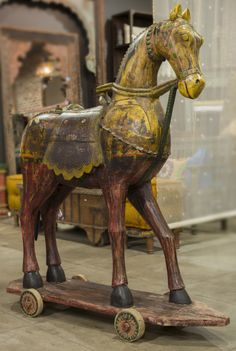 Festive Wooden Horse | De•Cor - 19th Century carved wooden horse with polychrome paint finish and painted details. Originally used as decorative sculptures in ceremonies and festivals by tribes from Rajasthan.