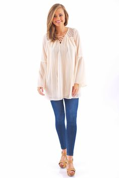 Walking After Midnight Tunic-Ivory - $46.00