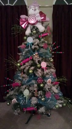 Candy themed Christmas tree..I just have to add the skirt