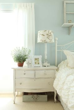 house tours, wall colors, beauti chest, blue walls, dresser, blue bedrooms, white bedrooms, bedside tables, french larkspur