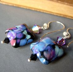 Purple+Lampwork+Earrings+on+Sterling+.+Swarovski+by+beadstylin,+$24.50