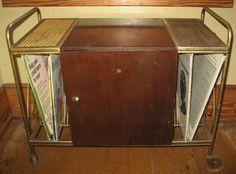 MidCentury Record Cabinet Metal Treble Clef Design by JewelsThings, $225.00