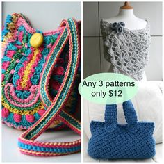Crochet Patterns choose any 3 patterns for only 12 dollars by Luz Patterns #crochet patterns #crochet pattern sale