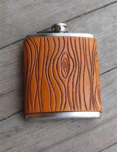 Wood-grain Leather Flask