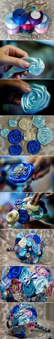 I wonder if I could do something like this with lace ribbon to add to my brooch/ silk flower bouquet?? Have to try it!