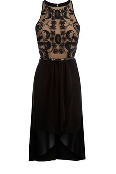 This dress has an applique top with a nude underlayer and is sleeveless in style. Cinching in at the waist with a belt attached, the skirt has a crossover detail to the front and a shorter underlayer.