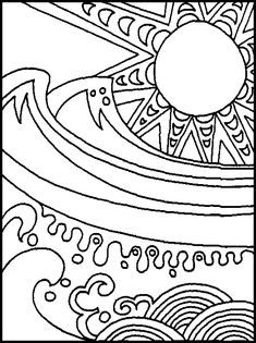 Sun and ocean abstract - Free Printable Coloring Pages