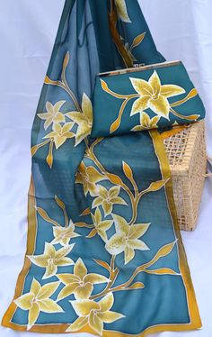 Hand painted silk scarf with matching handbag - one of a kind wearable piece of art (Teal/Moustarde) via Etsy Perfect for a bridesmaid!
