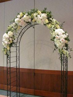 Floral arch - but with purple and white flowers